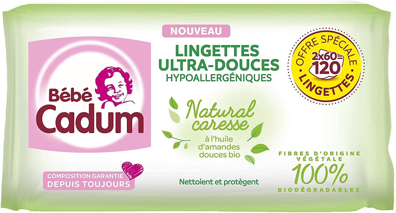 lingettes natural caresse cadum